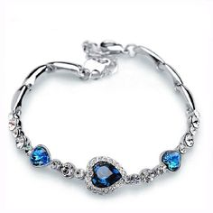 Heart Charm Bracelet Austrian Crystal White Gold Plated ON SALE - 40% OFF!   $21.90