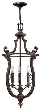 Plymouth Hanging 4-Light Foyer Lantern - traditional - ceiling lighting - Carolina Rustica