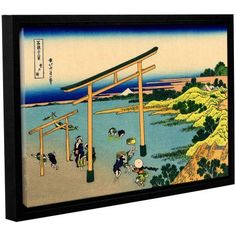 ArtWall Katsushika Hokusai The Waterfall of Amida Behind the Kiso Road Gallery-Wrapped Floater-Framed Canvas, Size: 12 x 18, White