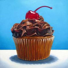 Who doesn't love cupcakes or cherries? Cupcake Painting, Cupcake Art, Food Painting, Fabric Painting, Cupcake Illustration, Cupcake Heaven, Magdalena, Sweets Cake, Food Drawing