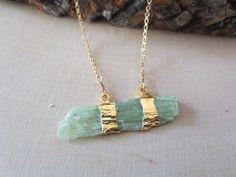 Kyanite necklace green kyanite necklace kyanite by PanachebyAmanda