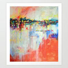 on the water,  expressive landscape, abstract Art Print by Marta Zawadzka - $19.00