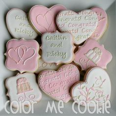 Wedding cookies by Color Me Cookie