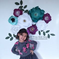 A personal favorite from my Etsy shop https://www.etsy.com/listing/497850300/paper-flowers-in-purple-teal-and-white. Paper flowers in purple, teal, and white. Girls bedroom decor, birthday/baby/bridal shower party decor or photo props. Wedding backdrop.