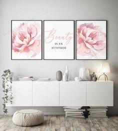 Dining Room Wall Art, Living Room Art, Bedroom Wall Art Above Bed, Pink Bedroom Decor, Pink Bedroom Walls, Shabby Bedroom, Pink Home Decor, Pretty Bedroom, Shabby Cottage