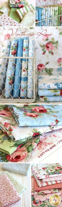 Vintage Rose by Deborah Edwards for Northcott Fabrics is a beautiful floral fabric collection available at Shabby Fabrics Shabby Chic Fabric, Shabby Fabrics, Vintage Fabrics, Fabric Ribbon, Floral Fabric, Quilt Patterns, Sewing Patterns, Sewing Crafts, Sewing Projects