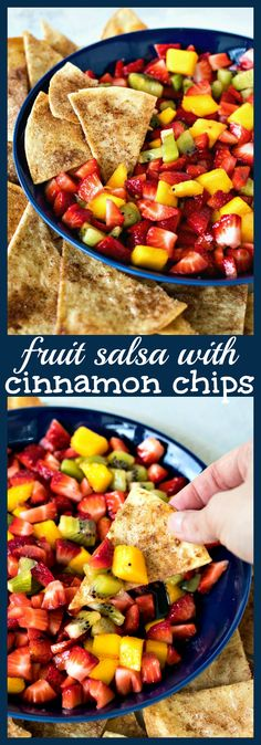 Fruit Salsa with Cinnamon Chips – Diced strawberry, kiwi, and mango are tossed with a honey & lemon dressing to make a delicious and refreshing salsa. Serve it with homemade cinnamon chips. #recipe #salsa #fruit #cinnamonchips #snack #summer #strawberry #mango #kiwi #easy Fruit Recipes, Summer Recipes, Salad Recipes, Snack Recipes, Best Side Dishes, Side Dish Recipes, Vegan Kitchen, Kitchen Recipes, Healthy Snacks