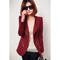 $15.60 Slimming Sloping Zipper Shrug Lapel Long Sleeved Blazer For Women
