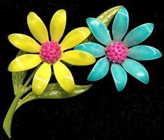 Vintage JJ Turquoise & Chartreuse ENAMEL FLOWER PIN/Brooch~Jonette Jewelry,FJT  | eBay