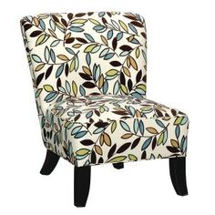 Floral Upholstered Armless Chair