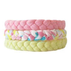 Three Braided Fabric Bracelets, Tshirt Yarn Bracelets, Pink, Yellow... ($6) ❤ liked on Polyvore featuring jewelry, bracelets, tri color bangles, party jewelry, braid jewelry, yellow bangles and multi color jewelry