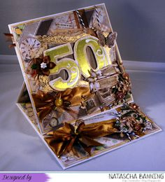 Easel card for a 50th birthday in browns and gold using paper scraps and numbers I cut using my Silhouette Cameo.
