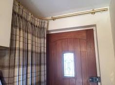 Image result for how to put curtain on a front recess door & Door Curtain Pole - WHITE RISING PORTIERE ROD 42
