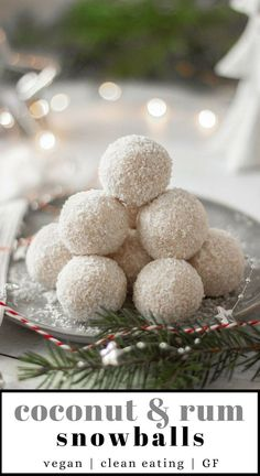 These Vegan Coconut & Rum Snowballs are the easiest, no-bake Christmas treats! They're super festive These Vegan Coconut & Rum Vegan Christmas Desserts, Healthy Christmas Recipes, Christmas Baking, Holiday Recipes, Christmas Parties, Christmas Time, Vegan Christmas Party, Vegan Christmas Cookies, Christmas Brownies