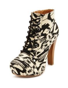 tribal canvas laceup bootie