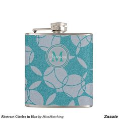 Abstract Circles in Blue Personalized Hip Flask