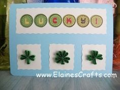 Quilled Lucky Clover Card with three leaf and four leaf clovers