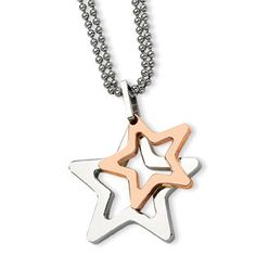 Women's Two Tone Rose Gold Stainless Steel Moveable Star Pendant Necklace Available Exclusively at Gemologica.com