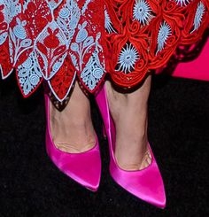 Lady Gaga Wears Red Marc Jacobs Crochet-Embroidered Dress with Hot Pink Brian Atwood Pumps
