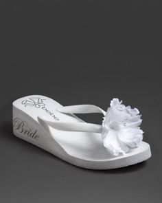 """Bebe """"bride"""" flip flop. I WISH I WOULD OF SEEN THESE BEFORE OUR WEDDING DAY!! TOO CUTE!!"""