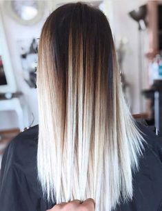 20 Amazing Brown To Blonde Hair Color Ideas - hair style White Ombre Hair, Brown Blonde Hair, Balayage Hair Blonde, Ombre Hair Color, Dark Roots Blonde Hair Balayage, Brown Hair With Blonde Ombre, Bleach Blonde Hair With Roots, Blonde Hair With Dark Roots, Red Hair