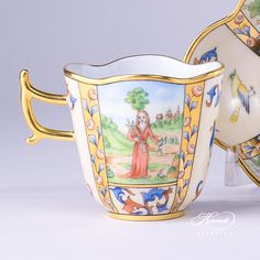 Coffee Cup – Medieval Miniatures – August | Herend Experts Espresso Cups, Espresso Coffee, Coffee Mugs, Vintage Coffee Cups, Teapots Unique, Neck Massage, Porcelain Mugs, Cup And Saucer Set, Old Antiques