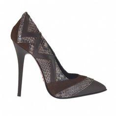 61c5de03f Zapato de salon a punta para mujer en piel marron oscura