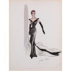 Jean Louis costume sketch of Joan Crawford from Queen Bee