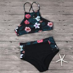 QIANG YI 2018 Summer Styles Retro Flowers Push Up Cross Strap Sexy High Neck Bikini Set Women Swimsuit Swimwear Bathing Suit