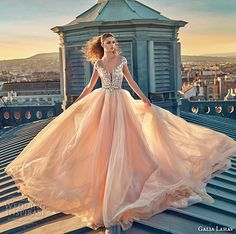 galia lahav gala fall 2016 bridal gowns gorgeous cap sleeves blush color ball gown wedding dress v plunging neckline lace applique embroidery bodice style 607