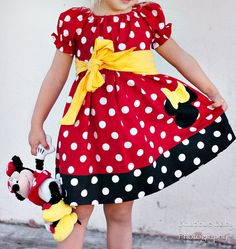 Minnie Mouse Peasant Dress and Sash Sizes 12mos by GiftSewFine