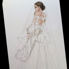 Among many starts this holiday weekend-  One of my very favorite Signor Mont Couture designs! @signormontcouture #realbride #bridalillustration  For. Illustration enquiry- please contact- karenorrillustration@gmail.com