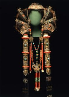 "Chalcha Woman's Headdress and Collier. 19th Century. Mongolia    This glorious headdress and collier were once worn by a woman of the Chalcha, a Mongolian Subgroup. They were a sign that this woman was married. They were also part of her personal ""savings account"" of jewellery. Gilt bronze, coral, turquoise, pearls, silk and others."