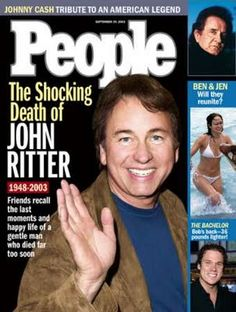 John Ritter actor people magazine cover - Born Jonathan Southworth Ritter September 1948 Burbank, California, U. Died September 2003 (aged Burbank, California, U. Cause of death Undiagnosed aortic dissection My Magazine, People Magazine, Magazine Covers, Ben And Jen, John Ritter, John Boy, Three's Company, American Legend, Seventeen Magazine