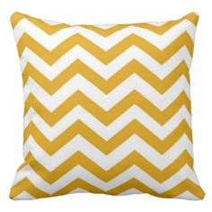 SAVE 25% on all decorative throw pillows on our site. Use code: ZAZWEEKSALES at checkout. Mustard Yellow and White Chevron Pillow
