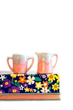 Pink & Blue Pottery // Tea or Coffee Cream by RankandFileVintage, $12.50
