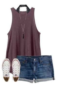 #spring #outfits / tank top +denim shorts