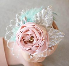 How to Make a Lace Elastic Baby Headband with Birdcage Veil, Feathers and Fabric Flower Tutorial