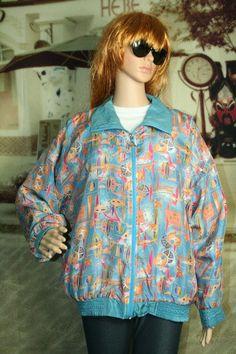 Casual Isle vintage jacket zip front silk windbreaker size M #CasualIsle #Windbreaker #Casual