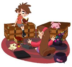 Packin' up for another year at school…    (Hogwarts, Gravity Falls, Over The Garden Wall, Dipper, Mabel, Waddles, Done by KicsterAsh)