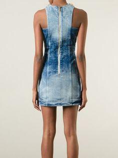Balmain Jeanskleid mit doppelter Knopfreihe