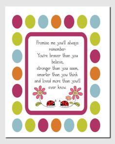 Ladybug Nursery, Promise Me quote, Kids Wall Art Gir'sl Room Decor Nursery Art Toddlers by vtdesigns, $14.00