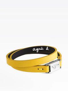 bracelet dan jaune en cuir | agnès b. Belt, Accessories, Fashion, Yellow, Leather, Belts, Moda, Fashion Styles, Fashion Illustrations