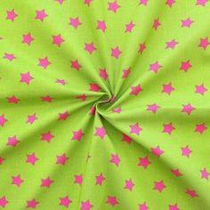 100% Baumwollstoff bedruckt  Sterne Groß  Farbe Grün-Pink
