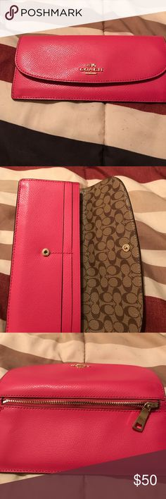 Leather wallet!! Pink leather Coach wallet!! Great condition!! Coach Bags Wallets