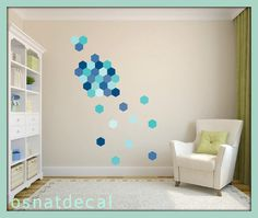 FREE SHIPPING Wall Decal Hexagon Shades Of Blue. Each Kit 59. Wall Sicker, Wall Art. Nursery Wall decal, Homedecor. Kids Room Wall Decal.