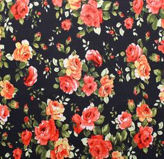 Rose Floral ITY Jersey Dress Fabric Material (2 colour-ways) in Crafts, Fabric | eBay
