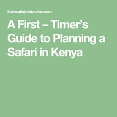 A First – Timer's Guide to Planning a Safari in Kenya