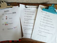 ideas for organizing chores for the kids with clipboards