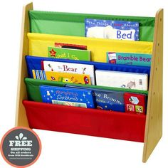 Kids Sling Bookshelf Children Bookcase Book Shelf Rack Play Room Furniture Color